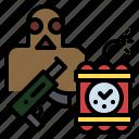 assurance, bomb, gun, terrorism, war icon