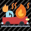 burn, car, fire, help, security