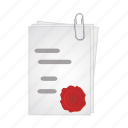 agreement, document, documents, paper, wax icon