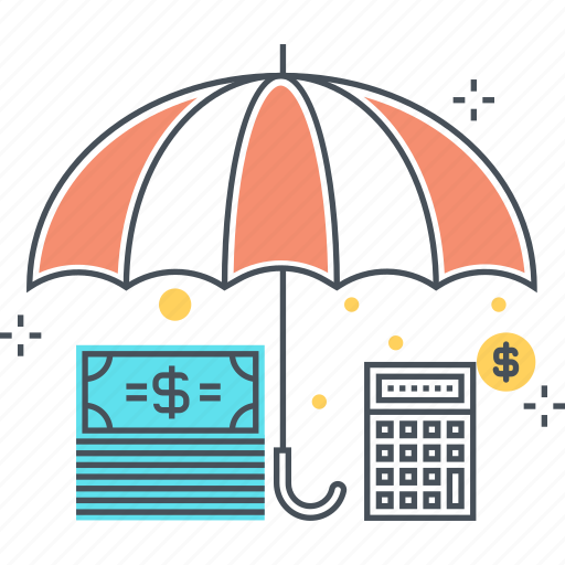 budget, insurance, money, mortgage insurance, protect, savings, umbrella icon