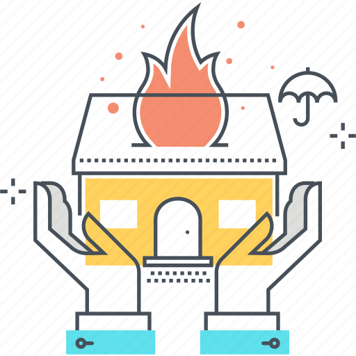 fire, hands, home, house, insurance, property, protection icon