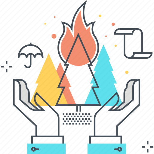fire, forest, garden, hands, insurance, nature, tree icon
