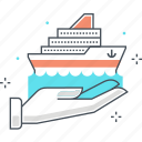 boat, hand, insurance, protection, sailboat, ship, transport icon