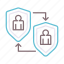 insurance, peer, shield, users icon
