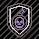 insurance, shield, skull, terrorism icon