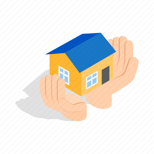 estate, hands, holding, home, house, isometric, residential icon