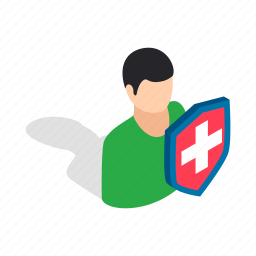 character, illustration, isometric, male, man, people, shield icon