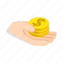 coins, finance, hand, holding, isometric, money, purse icon