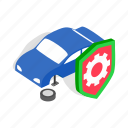 isometric, machine, mechanic, repair, service, wheel, wrench icon