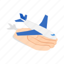 fly, hand, holding, isometric, plane, sky, travel icon