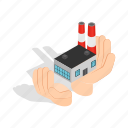 chemical, factory, hands, holding, industry, isometric, plant icon