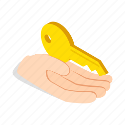 business, hand, holds, isometric, key, success, unlock icon