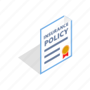 business, insurance, isometric, policy, protection, safety, security icon