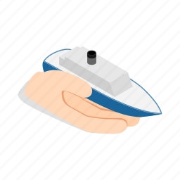 boat, hand, holds, isometric, sea, ship, yacht icon
