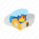 extinguish, fire, home, house, illuminate, isometric, panic icon