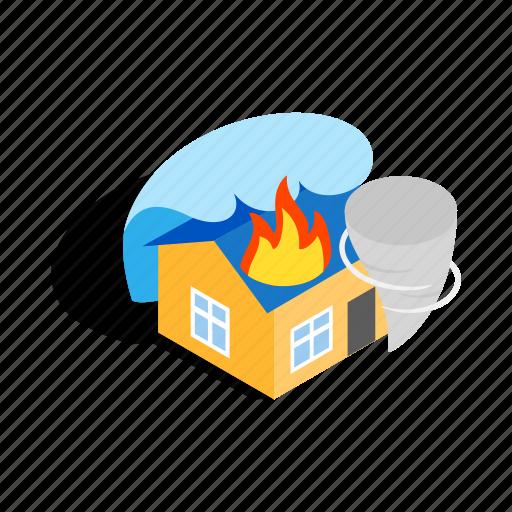 extinguish, fire, home, house, illuminate, isometric, panic icon