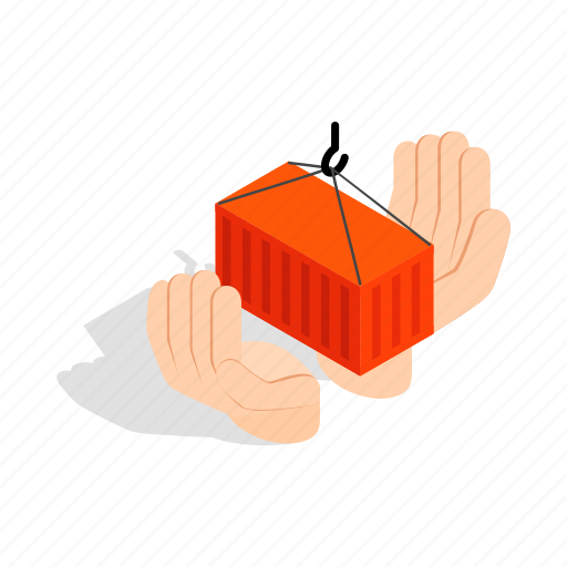 cargo, container, freight, hands, holding, isometric, logistic icon