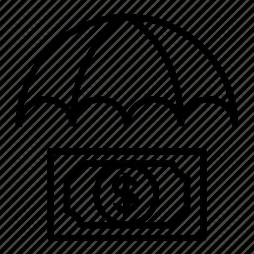 insurance, money, protection, umbrella icon