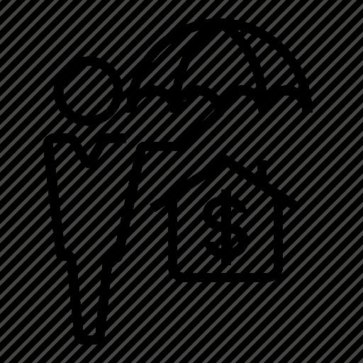 house, insurance, protection, umbrella icon