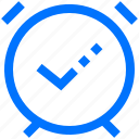 alarm, clock, complete, interface, on, success icon