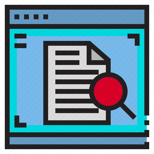 data, document, file, glass, interface, magnifying icon