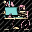 designer, computer, working, desk, workspace, work, in the zone
