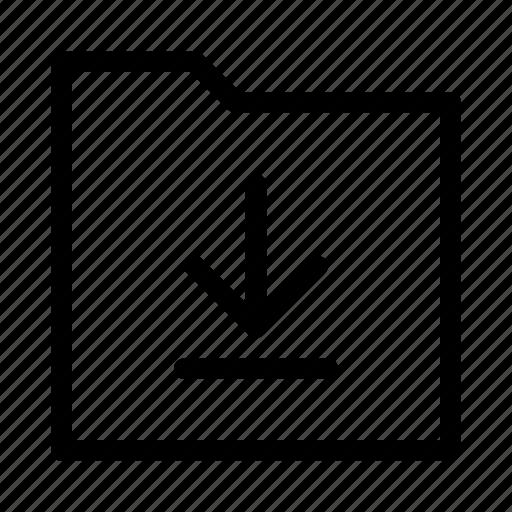 arrow, download, folder, gui, web icon