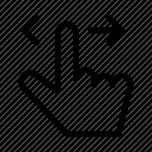 gui, hand, hozizontal, swipe, web icon