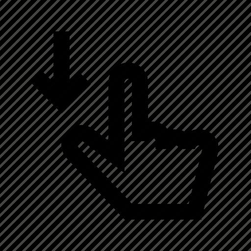 down, gui, hand, scroll, web icon