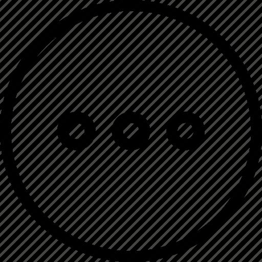 circle, dots, frame, horizontal, menu, navigation, three icon