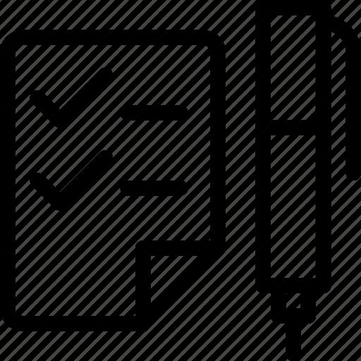 checklist, checkmark, edit, edition, form, pen icon
