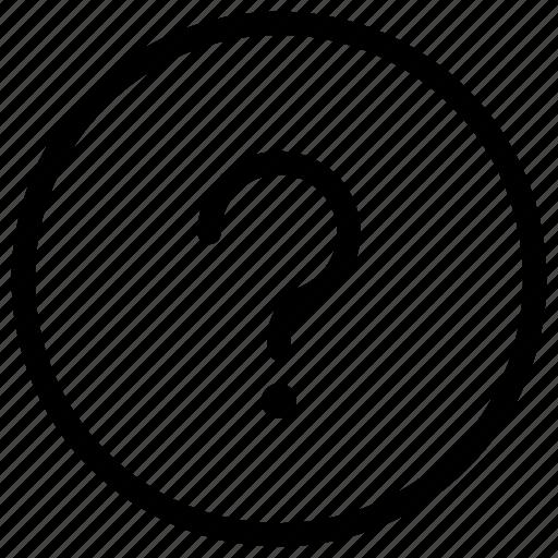circle, faq, frame, help, more, query, question icon