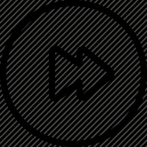 circle, controls, fast, forward, media, multi, multimedia icon