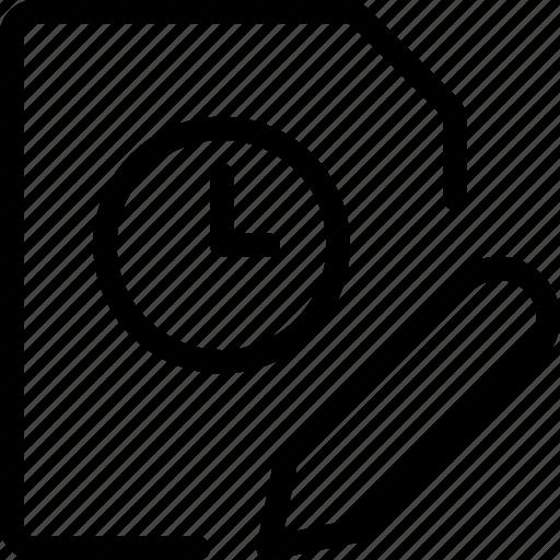 clock, document, edit, file, modify, time, write icon