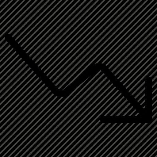arrow, descend, down, graph, right, stats icon