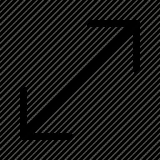 bigger, diagonal, expand, resize, size, small, smaller icon