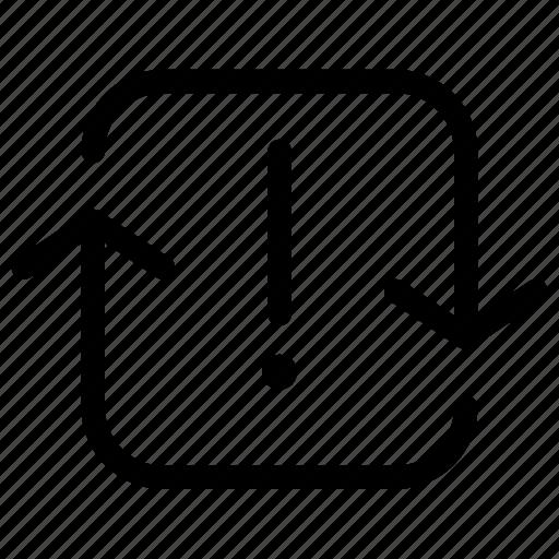 arrow, error, failure, load, notification, square, synchronize icon