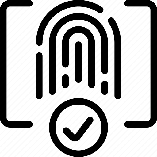 approved, finger, fingerprint, id, secure, square, touch icon