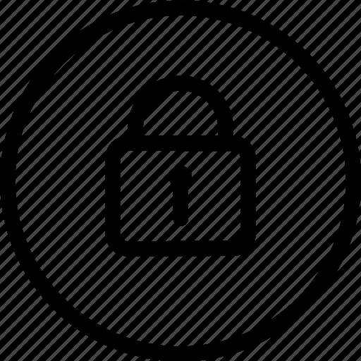 circle, frame, key, lock, locked, secure, security icon