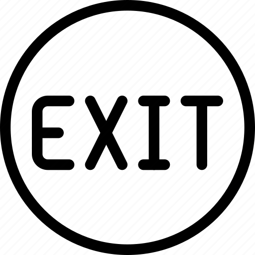 circle, exit, frame, logout, sign, signage icon