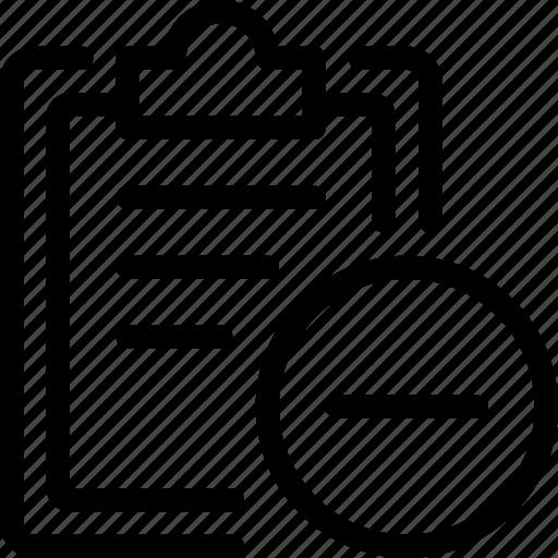 checklist, edit, edition, minus, remove, subtract, task icon