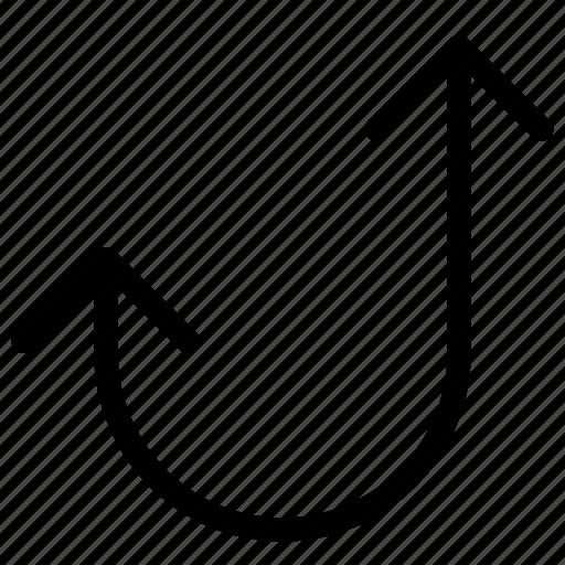 arrow, controls, curve, media, multi, multimedia icon