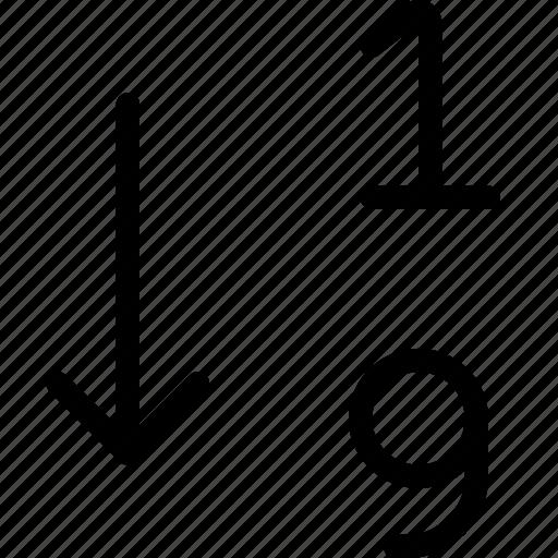 arrange, ascending, number, numerical, options, sort, text icon