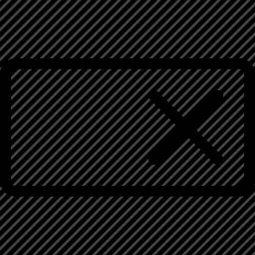 fail, failure, reject, rejection, remove, textbox icon