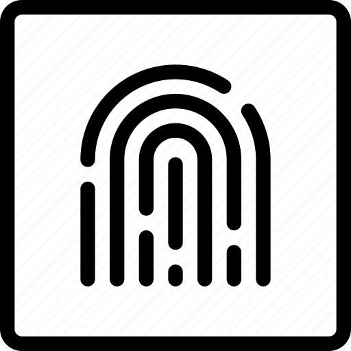 fingerprint, frame, id, password, secure, square, touch icon