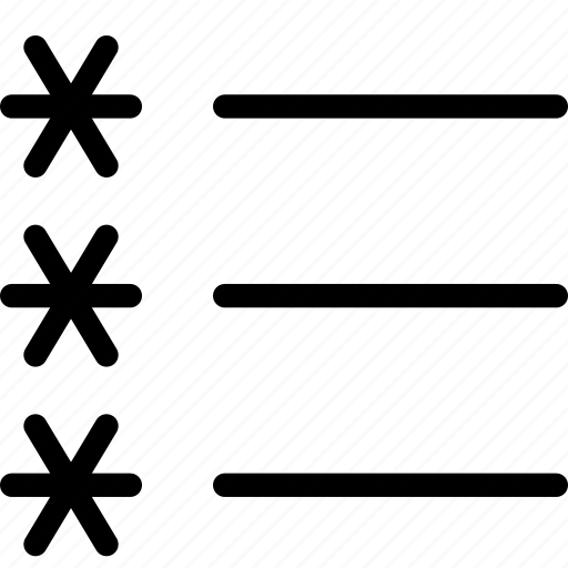 asterisk, list, lists, stars, unordered icon