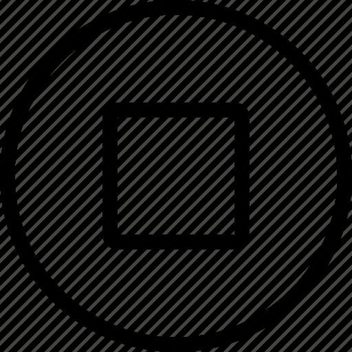 circle, controls, media, multi, multimedia, stop icon
