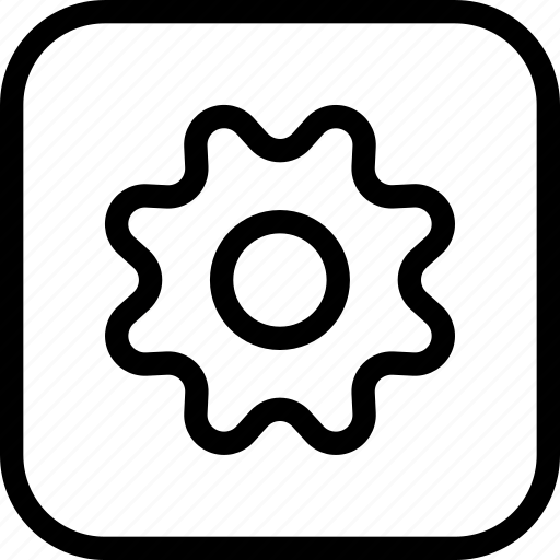 cog, frame, gear, machine, settings, square, work icon