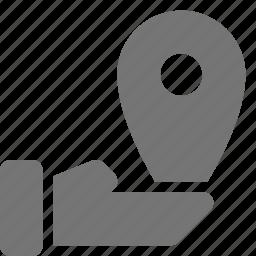 hand, location, share icon