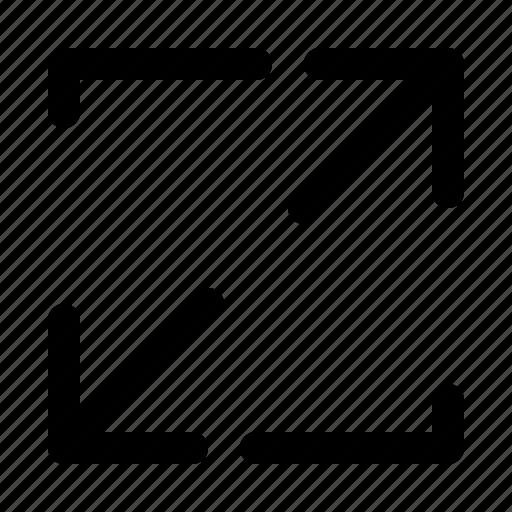 arrow, display, full, interface, navigation, screen, ui icon